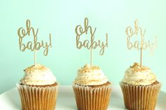 Oh Baby Cupcake Toppers - Baby Shower Cupcake Toppers - Gender Neutral Cupcake…