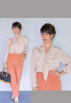 tie neck blouse in blush champange / vintage by FiregypsyVintage, $39.72