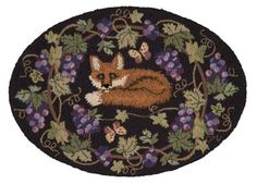 fox hooked rug | Claire Murray Official| Area rugs vineyard landscapes I like this laying down Fox and we could really show case the tail~Em