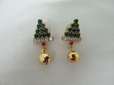 1980s Rhinestone Christmas Tree Earrings by KittyCatShop on Etsy, $6.99
