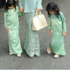 Lovely matching color of pastel mint green as seen on mummy's VERCATO Nurin Lace Baju Kurung Moden and her 2 daughters. For more muslimah dressing, shop online here: www.vercato.com or hop on to Robinsons Malaysia at Gardens Mall to try the latest collection today! Worldwide delivery available.