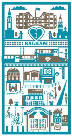 Blue & grey screen print of Balham, South London | Illustration: Ray Stanbrook Prints. http://etsy.me/1kwi7oP