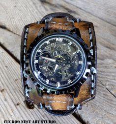 Skelett Leder watch für Herren Leder Manschette Watch