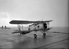 Fairey Swordfish taking off from HMS Tracker