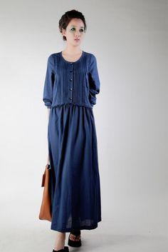 New Women S High Quality Orginal Long Linen Dress Navy Blue Color