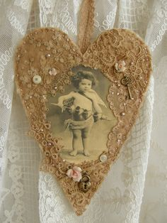 Altered Vintage Lace Photo Heart
