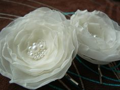 Ivory Wedding Bridal Flower Hair Clips - Set of 2 Bobby Pins Made Of Organza, Lace, Pearl Beads. $12.00, via Etsy.