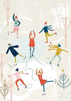 Winter Illustration, People Illustration, Christmas Illustration, Pattern Illustration, Illustrations, Christmas Paper, Christmas Design, Winter Art Projects, Postcard Art