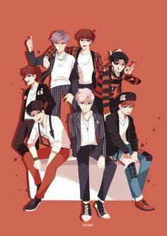 BTS War of Hormones fan art * not mine * Bts E Got7, Bts And Exo, Bts Kawaii, Bts Gifs, Chibi Bts, Kpop Anime, Manga Anime, Fanart Bts, Anime Lindo