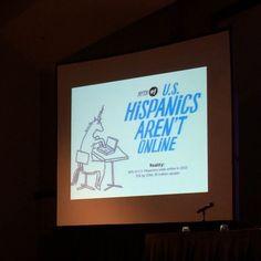 Carla Eboli debunks #OnlineHispanicMyths. First one, #Hispanics aren't online. According to a 2014 #Nielsen report, Hispanics spend 90 more minutes viewing videos on a digital device than the average American. #OnePlusOneTheBook #videoviews #marketing #HRC15