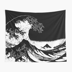 Great Wave Monochrome • Millions of unique designs by independent artists. Find your thing. Tapestry Bedroom, Wall Tapestries, Tapestry Wall Hanging, Great Wave Off Kanagawa, Black And White Aesthetic, Retro Aesthetic, Vaporwave, Glitch, Wall Prints