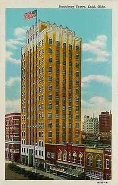 Enid Oklahoma OK 1931 Broadway Tower Downtown Antique Vintage Postcard Enid…