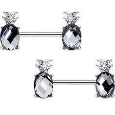 Dynamique Princess CZ Set Tulip Ends 316L Surgical Steel Nipple Barbell Ring
