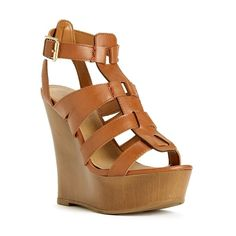 Cut-Out Gladiator Wedge Sandals (28 BRL) ❤ liked on Polyvore featuring shoes, sandals, wedges, heels, brown, platform sandals, open toe wedge sandals, open toe gladiator sandals, platform wedge sandals and platform gladiator sandals
