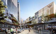 Shopping Mall Architecture, Retail Architecture, Commercial Architecture, Futuristic Architecture, Architecture Design, Commercial Complex, Commercial Street, Commercial Design, Street Mall