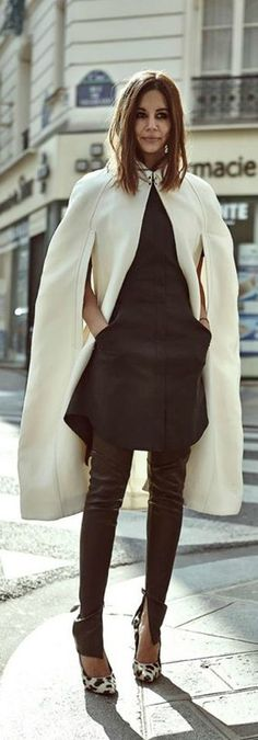 Burberry cape, 3.1 Phillip Lim dress, Bassike pants, Celine shoes = LOVE