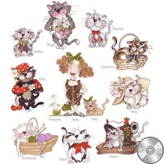 Fancy Cats Embroidery Design Collection | CD