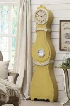 Antique Vintage Style Swedish Mora Shabby Chic Yellow Cottage Floor Clock repro.