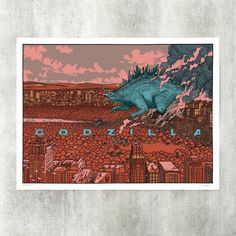 """GODZILLA"" screen print for Mondo Tees on Behance"