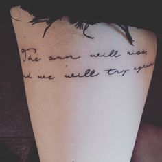 My twenty one pilots tattoo of Truce lyrics. The sun will rise and we will try again.