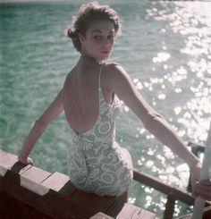 Jean Pratchett modelling a swimsuit for Vogue, 1950s.