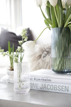"""I guess many of you are familiar with the popular Lyngby vase and Bonbonniere recreated by """"Porcelænsfabrikken Danmark - Lyngby Porcelæn""""? Decorating Coffee Tables, Coffee Table Design, Interior Styling, Interior Decorating, Interior Ideas, Simple Modern Interior, Design Scandinavian, White Tulips, Make Design"""