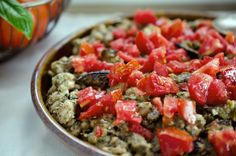 white beans with eggplant and roasted red pepper pesto