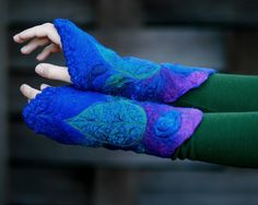 Felted cuffs Felted gloves - Arm warmers - Felt bracelets - Northern night - in Psychedelic. $49.00, via Etsy.