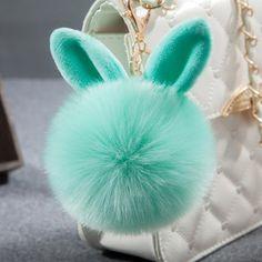 Fur Pom Pom Keychain Fluffy Bunny Rabbit Fur Keychain for Women Bag Charm Rabbit Ears Key Chain Car Key Ring chaveiro Keychains Fluffy Bunny, Fluffy Puff, Fluffy Rabbit, Fur Keychain, Car Key Ring, Bunny Toys, Fur Pom Pom, Rabbit Fur, Bunny Rabbit