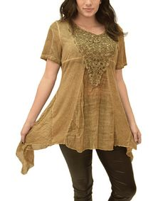This Khaki Appliqué Panel Sidetail Top is perfect! #zulilyfinds