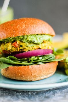 Garlic + Basil Chickpea Veggie Burgers with Creamy Avocado Pesto