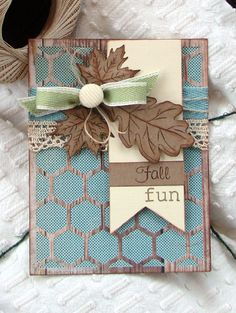 Lovely Foil Paper Fall Card..with leaf & lace trim.