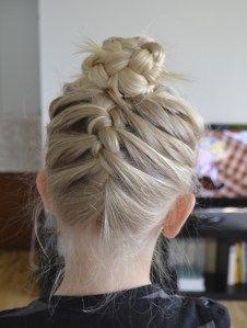 Two french braids into a bun