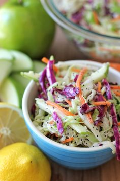 Apple and Poppy Seed Coleslaw Recipe Vegetarian Coleslaw vegan seed coleslaw - Vegan Coleslaw Poppy Seed Coleslaw Recipe, Vegetarian Recipes, Cooking Recipes, Healthy Recipes, Paleo Food, Apple Recipes, Vegan Vegetarian, Vegan Coleslaw, Apple Coleslaw