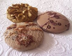 Beige buttons gold buttons embroidered buttons ♡ by EmbellishedLife2, $4.50