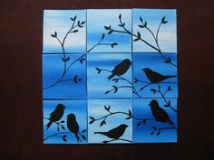 Birds painting set of 9 canvases small original blue