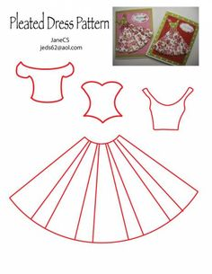 Pleated Dress Pattern 2 for Cards.
