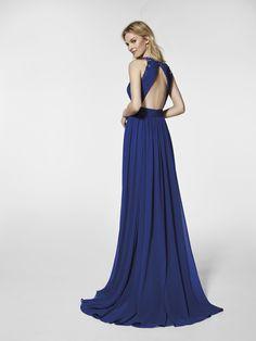 Mavi kokteyl elbisesi - Uzun elbise, GRAMERCY - kolsuz   Pronovias