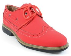Men's Wing-tip Vegan Suede Rockabilly Casual Dress Red Oxford Shoes