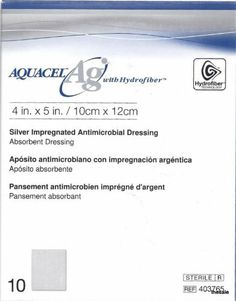 "Convatec Aquacel AG Hydrofiber Dressing with Ionic Silver 4"" x 4.7"", Box of 10 ConvaTec,http://www.amazon.com/dp/B000NX5EMS/ref=cm_sw_r_pi_dp_mAEvtb0X0Z9VCFR3"