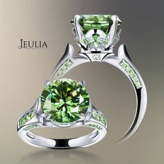 Round Cut Peridot Rhodium Plating Sterling Silver Women's Engagement Ring #jeulia