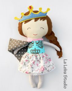 Rag doll gift for children princess fabric doll by LaLobaStudio