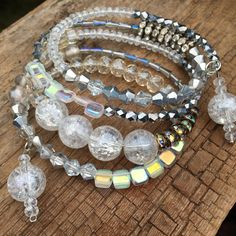 Imported crystals glass beads and rhinestone wrap bracelet, dressy bracelet, memory bracelet, special occasion, Austrian crystals, layering by Bedotted on Etsy