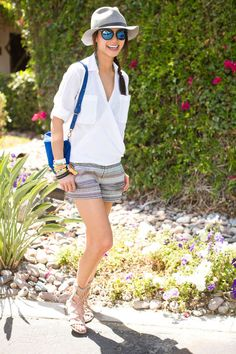 Jamie Chung in cute printed shorts and a white top