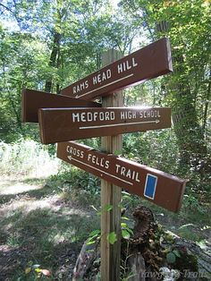Signage on the Cross Fells Trail in the Lawrence Woods area of the Middlesex Fells Reservation in Medford, Massachusetts (MA).  A 2013 image by David R. Brierley.