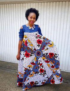 Obiageli New in African Ankara Print Denim Combo Maxi Dress African Fashion Dresses, African Dress, Fashion Outfits, Ankara Maxi Dress, African Design, African Style, Aso Ebi Styles, Maxi Styles, Printed Denim