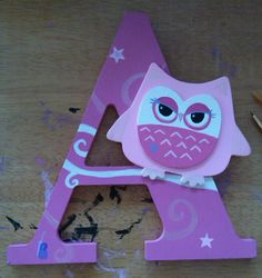 A #Owl Hand painted by yours truly Brittany Gaudreau  https://www.etsy.com/shop/BOneofaKindCreations #MonogramLetters #Monogram #Letters  #handmade #HandPainted #Customletters #kids #crafty #babyshower  #gift #birthday #holidays #FamilyNames #BabyRoom #KidsRoom #FamilyRoom #Wallart