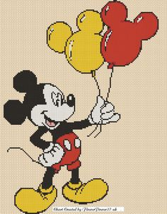 Cross stitch chart - mickey mouse - balloons - Flowerpower37-uk #FlowerPower37uk