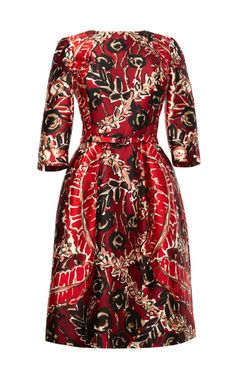 Shop Printed Silk-Blend Belted Dress by Oscar de la Renta Now Available on Moda Operandi