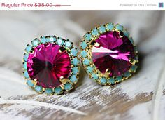 SUMMER SALE Pink and turquoise stud earrings with genuine Swarovski Rhinestone crystal, Bridesmaids jewelry, Vintage earrings on Etsy, $28.00
